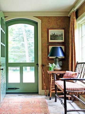 green painted door with paisley walls ~ cottage style