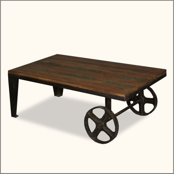 SHOPPING TOOLS View Image   Print  Email  Live Help  Give Us Feedback Industrial Steam Punk Reclaimed Wood & Iron Wheels Rustic Coffee Table...