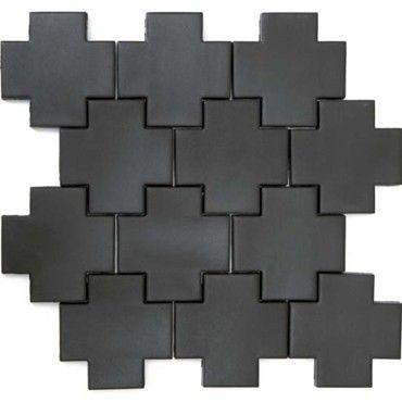 geëxtrudeerde mozaïek tegels in mat zwart verkrijgbaar bij tegelland