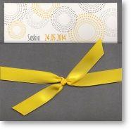 Konfirmationseinladung mit gelber Schleife