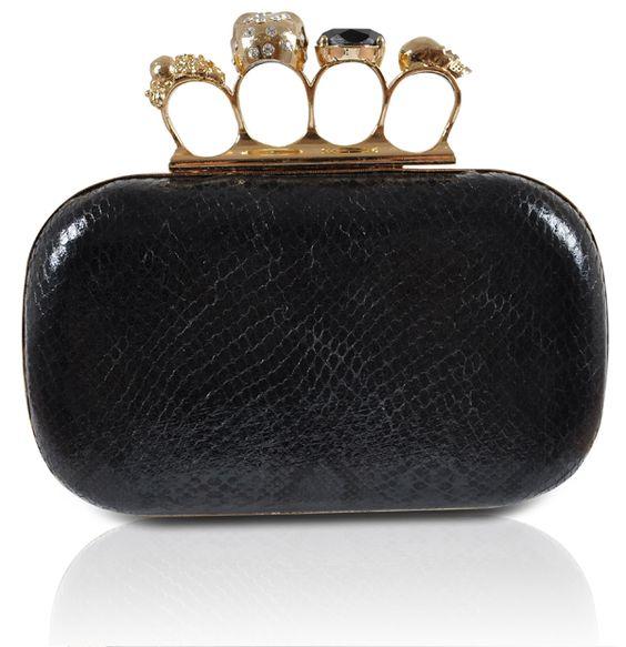Accessories : Clutch Bags : Mistress Rocks : 'Throne' Mistress Rocks Black Knuckleduster Skull Clutch