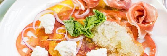 Heirloom Tomato Carpaccio {with Burrata, Basil Granita, Prosciutto Rosettes & Fig Balsamic} | No Spoon Necessary