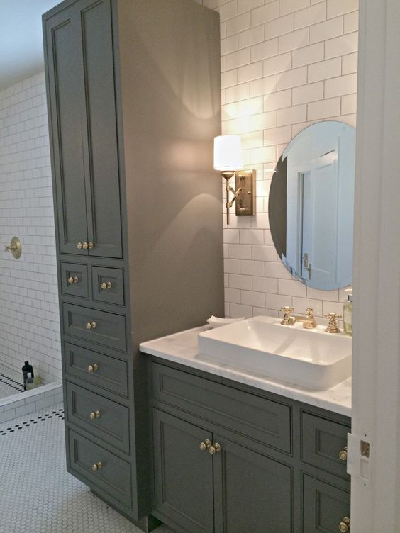 Gray cabinets round mirrors and wall faucet on pinterest for Bathroom builders birmingham