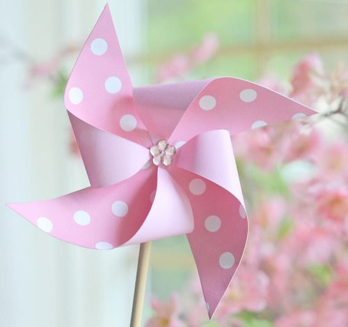 Pink polka dot toy windmill. http://pink-and-only-pink.tumblr.com/: