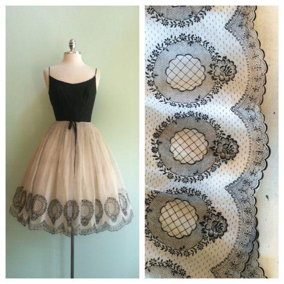 Black & White Silk Chiffon 1950s Vintage by TroveVintageBoutique