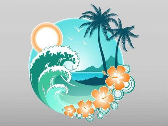 Tropical vector elemento gráfico de playa