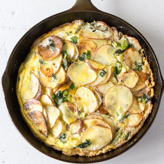 Ramp Fritatta with Asparagus and Potatoes.