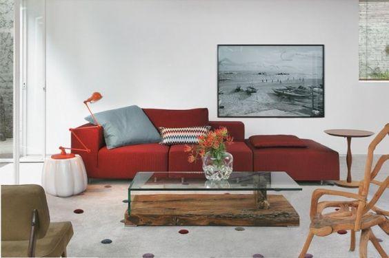 francisco calio decoracao sala moderna tapete bolas design sofa vermelho: