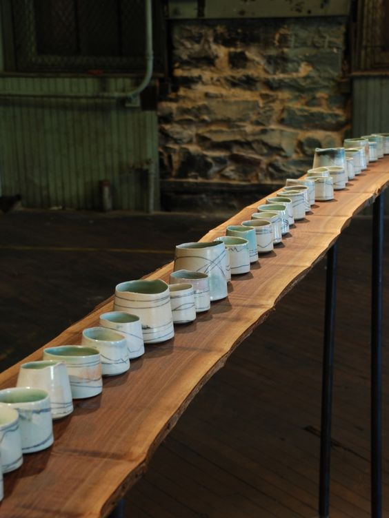"Contemporary - ""Porcelain Centerpiece"" (Original Art from Bianka Groves)  porcelain wood/soda/salt fired"