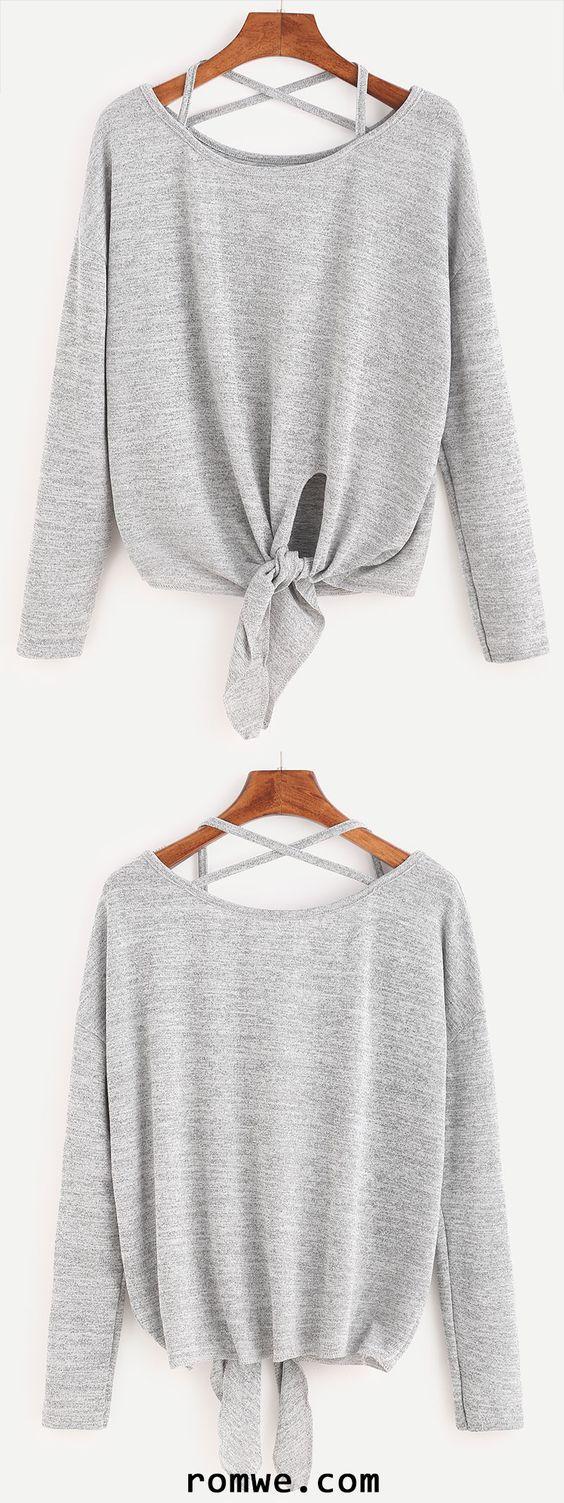 Heather Grey Drop Shoulder Criss Cross Tie Front T-Shirt: