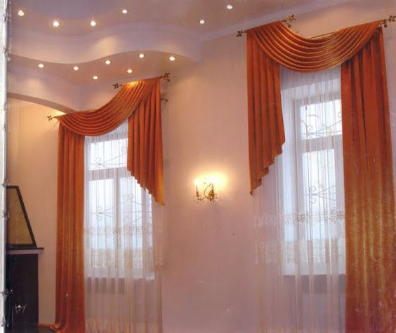 Interesting way to treat a layered ceiling. #drapes #curtains ...
