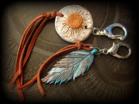 Rustic Gypsy Boho Key Ring Key Fob Luggage Tag Key by YuccaBloom