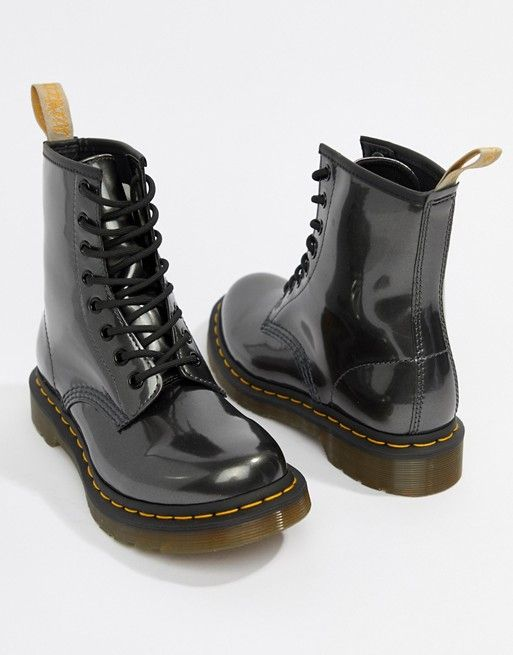 Dr Martens Vegan 1460 Silver Chrome Flat Ankle Boots in 2019