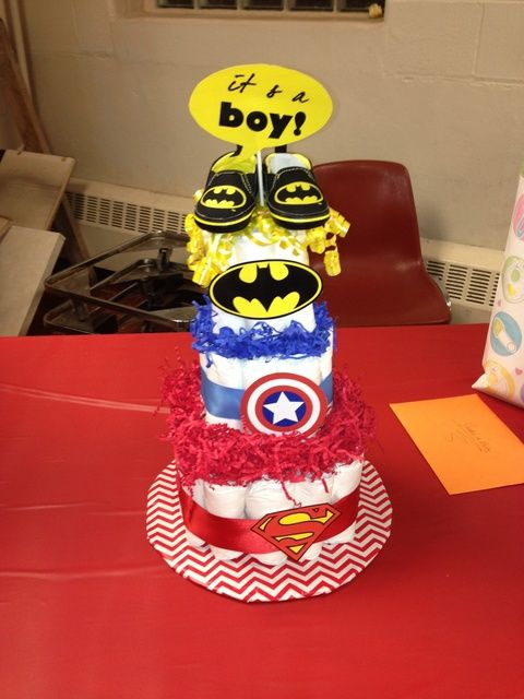 Baby Shower Decorations Superhero ~ Boys cakes and diaper on pinterest