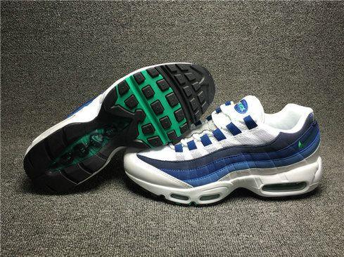 hot sale online 6ff3d dff36 Men Nike Air Max 95 OG French Blue White Emerald Green Court Blue New Slate  554970-131 Size 9   Nike KD   Nike air max, Air max 95, Nike