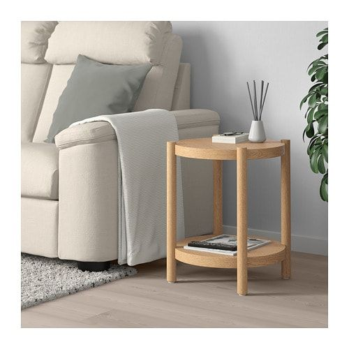 Listerby Beistelltisch Weiss Las Eiche Ikea Deutschland White Side Tables Ikea Side Table Side Table