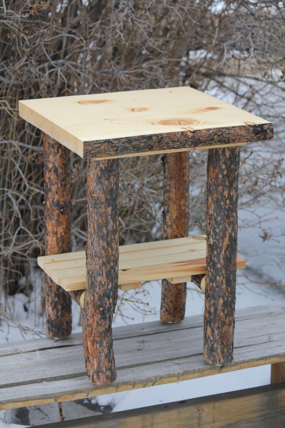 Rustic Log Bark On Top And Legs End Table Nightstand