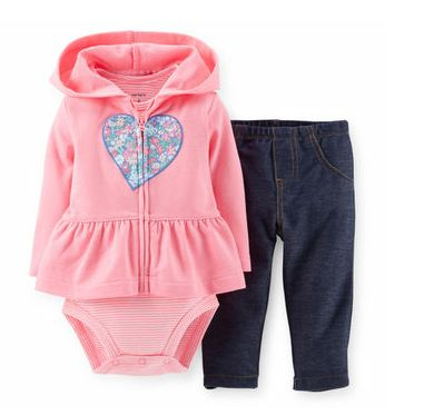 Set x 3 CARTER'S: Body manga corta + jeggings + camperita (french terry SIN friza) Talles 3 meses, 6 meses, 9 meses, 12 meses, 18 meses, 24 meses