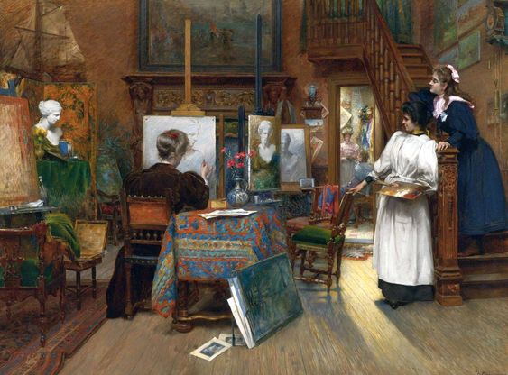 Charles Boom (Belgian painter) 1858 - 1939 The Female Artists, 1887 oil on canvas: