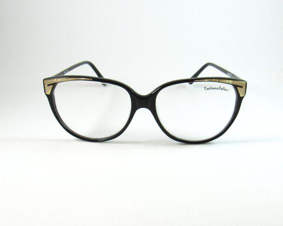 Emiliana Dallari Mod:Castore, Vintage 80s Black/ Gold Cat Eye Eyeglasses made in Italy,NOS Deadstock Vintage Eyeglasses by KNVintageEyeglasses on Etsy