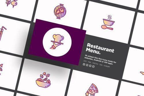 Restaurant Menu 16 Thin Line Icons Https Ift Tt 2omta8g