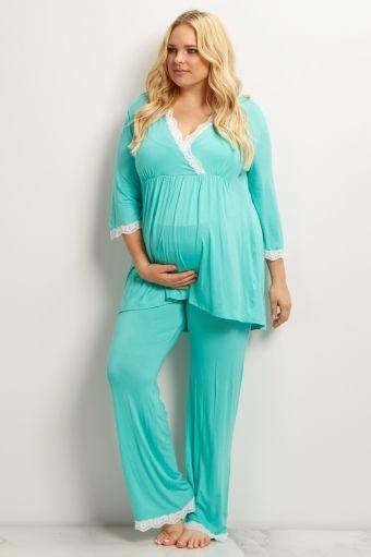 Mint Green Lace Trim Plus Size Maternity Pajama Pant | Maternity ...