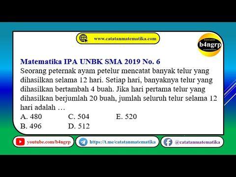 Unbk Sma 2019 Pembahasan Matematika Ipa No 6 Barisan Dan Deret Aritmetika Latihan Unbk 2020 Youtube Aritmetika Matematika Deret Aritmetika