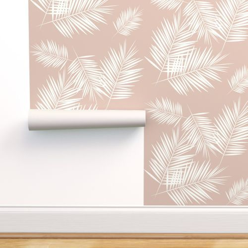 Colorful Fabrics Digitally Printed By Spoonflower Palm Leaves Palm Tree Tropical Fern Summer Ivory On Blush By Sunny Afternoon Palm Wallpaper Fern Wallpaper Stick On Wallpaper