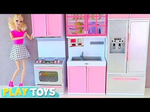 Barbie Doll Kitchen Set up 4 Tea party w/ Disney Princess ...