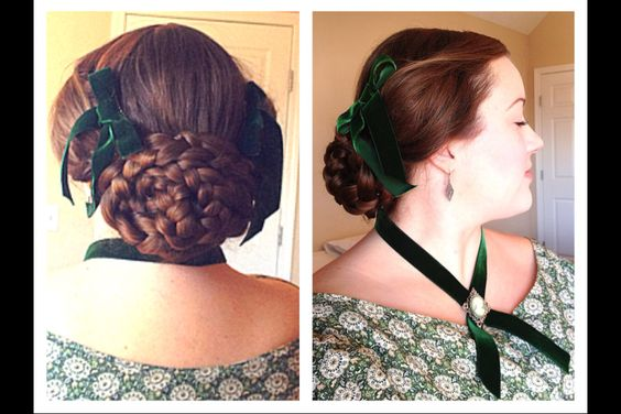 "Again, love the large braided bun. Wish I could learn how to do that ""puffed wing"" look she mentions.    From original pinner: Civil War hairstyle with my hair in an oval braided bun & puffed ""wings"" above my ears, my 1850's sterling hair comb & vintage emerald green ribbon made into hair adornments :-) This girl has such a beautifully done period correct hairstyle. It's gorgeous!"