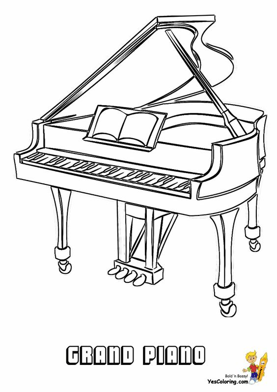 Mighty Piano Musical Instrument Coloring Piano Free Keyboard Pianos Music Coloring Coloring Pages Piano