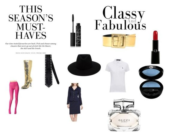 """Three trophies!"" by chrisone on Polyvore featuring rag & bone, Giorgio Armani, Emporio Armani, Polo Ralph Lauren, Betsey Johnson, Yves Saint Laurent, NARS Cosmetics, Gucci, H&M and Tahari"