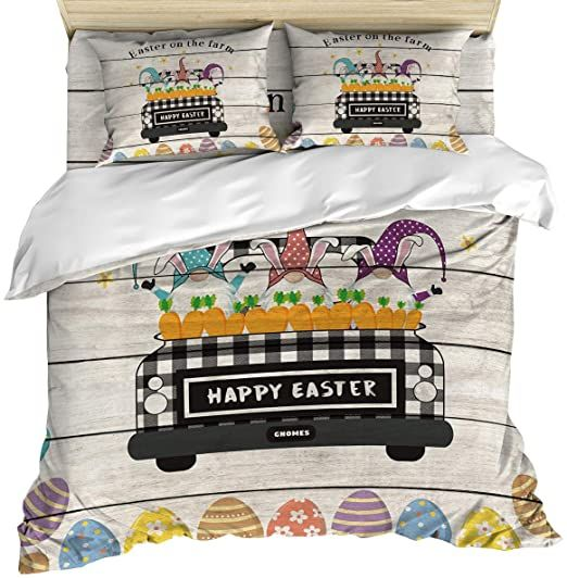4 Piece Cozy Duvet Cover Set Queen Size Cute Gnomes Plaid Truck And Easter Eggs On Wood Grain Backdrop Breathab Pillow Case Bed Duvet Cover Sets Quilt Cover What is duvet cover set