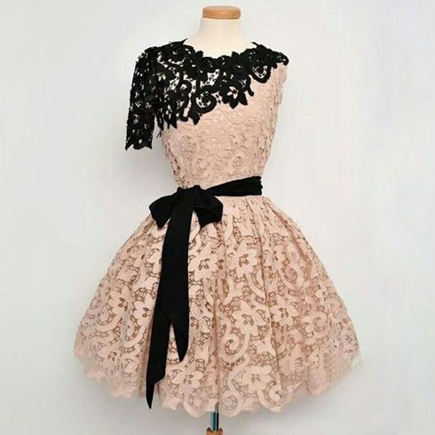 One shoulder prom dress, lace prom dress, blush pink prom dress