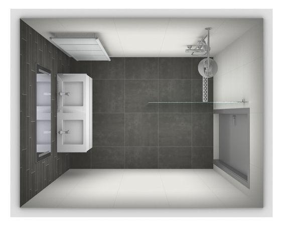 Ontwerp voor een kleine badkamer afmetingen 2 x 2 meter meer voorbeelden op http www - Kleine betegelde badkamer ...