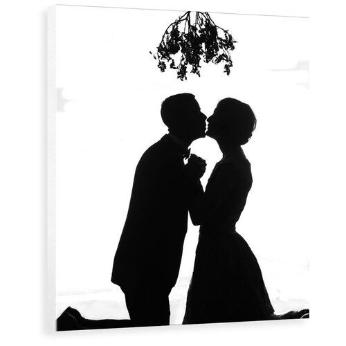 Marlow Home Co 1920s Silhouette Couple Kissing Under Christmas