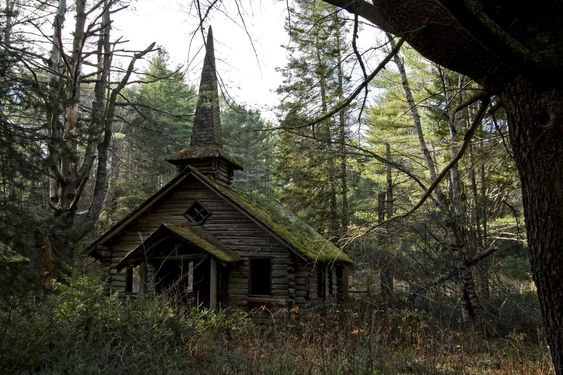 destroyed-and-abandoned:  Abandoned church in the woods with a mossy rooftop and steeple. Photo by Robert Wirth. . ethan_kahn:   source
