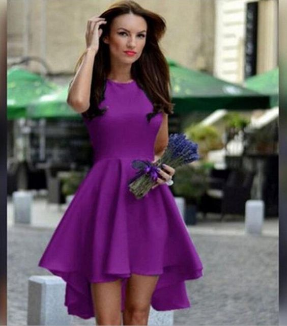 Pure Candy Color Irregular High Waist Short Dress