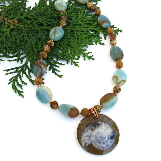 #Ammonite #Fossil #Handmade #Necklace, Amazonite, Jasper, Unique Artisan Gemstone Jewelry  @ShadowDog #ShadowDogDesigns #indiemade - $60.00 - SOLD *