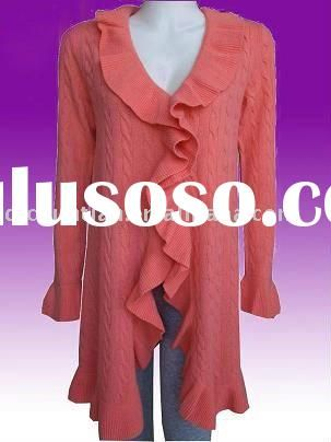 Love this ruffled cashmere sweater! Soft apricot color!