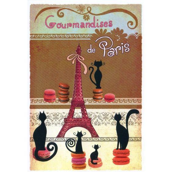 CARTE POSTALE DE PARIS - CHATS, MACARONS ET TOUR EIFFEL Souvenirs de Paris à…