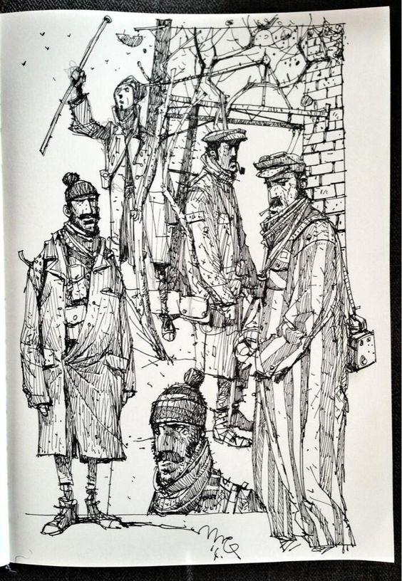 Sketchbook: 'Workers'.