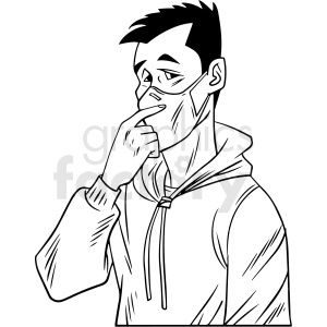 Black And White Man Wearing N95 Face Masks Vector Illustration