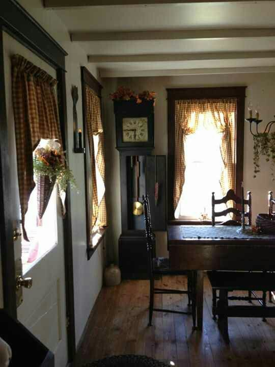 Rustic Primitive Dining Room Love The Window Treatments