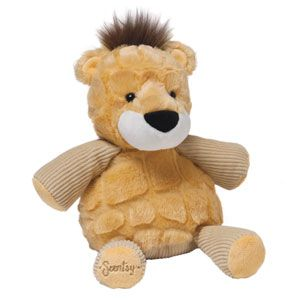 """Baby Roarbert the Lion is 7"""" tall when seated. HE comes alive with fragrance when you place a #Scentpak in the zippered pocket in his back."""
