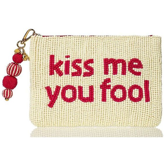 Kate Spade On Purpose Kiss Me You Fool Clutch featuring polyvore, fashion, bags, handbags, clutches, beige, kate spade, kate spade purses, kate spade handbag, beige handbags and beige purse
