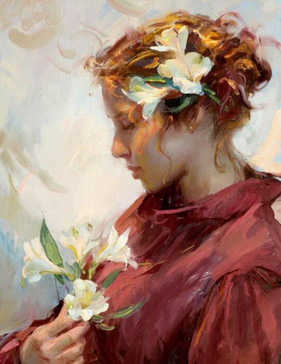 Daniel F. Gerhartz 1965 | pintor figurativo estadounidense | Mujeres con Flores