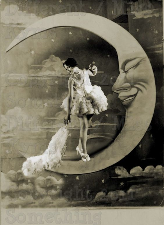 Dusting The Moon, Lovely lady,Paper Moon  Vintage Image, digital download. $2.50, via Etsy.