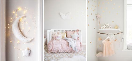 chambre bebe pastel et or