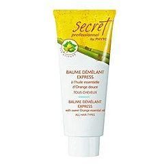 Baume Démêlant Express Secret Professionnel by Phyto - Cheveux bouclés - Un après-shampooing, avec filtre UV protecteur, qui démêle et gaine les cheveux. Une formule tendre, à l'huile essentielle d'orange douce, qui lisse les écailles et facilite le coiffage...